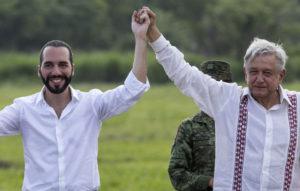 El presidente de El Salvador Nayib Bukele y el mandatario Andrés Manuel López Obrador. Foto: ÄP